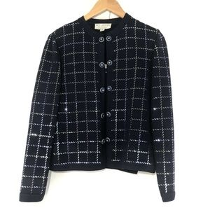 St John Evening Cardigan Sweater Set Navy Sequin